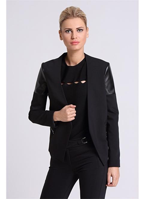 Love'n Fashion Paris Deri Garnili Ceket Siyah